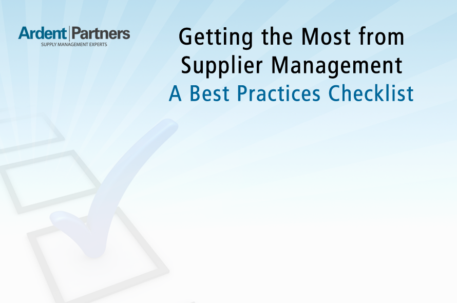 Getting the Most from Supplier Management: A Best Practices Checklist